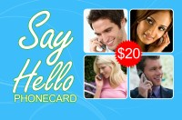 Say Hello phone card $20