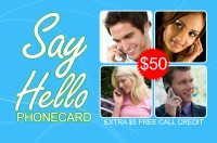 Say Hello phone card $50