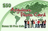 Anywhere Phone Card $50