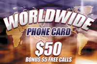 Worldwide Phone Card $50